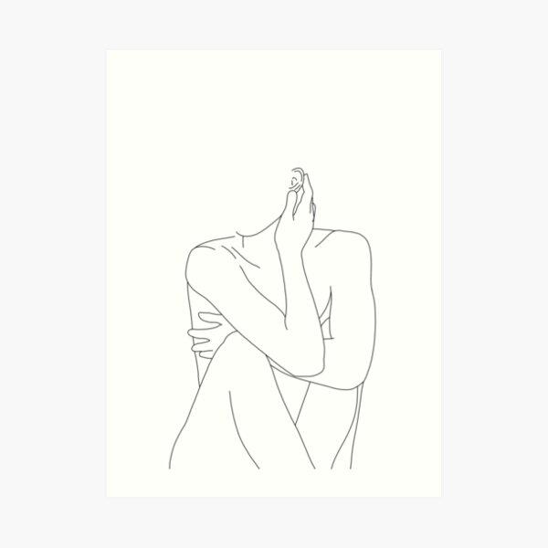Nude figure illustration - Celina Art Print