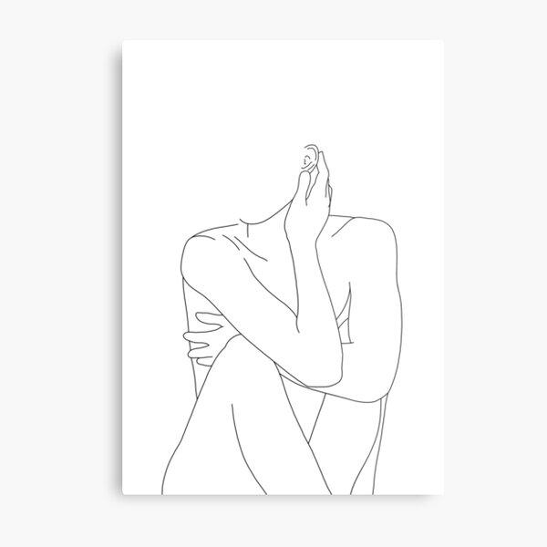 Nude figure illustration - Celina Metal Print