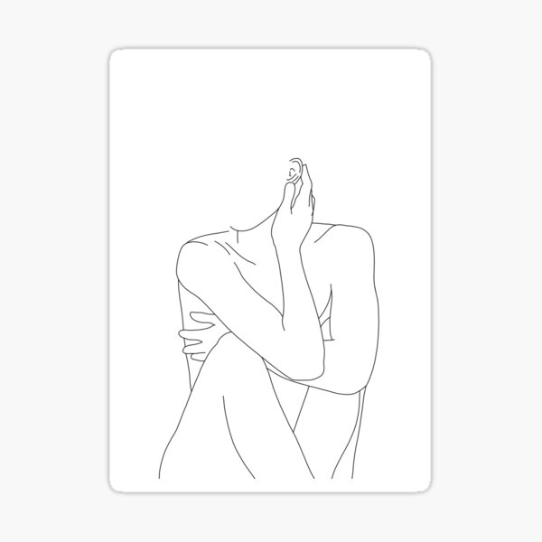 Nude figure illustration - Celina Sticker