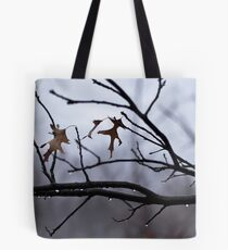 Winter Leaves with Water Drops Tote Bag
