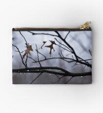Winter Leaves with Water Drops Studio Pouch