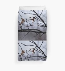 Winter Leaves with Water Drops Duvet Cover