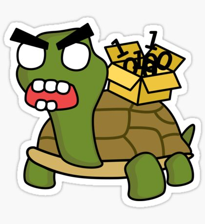 angry zombie packet tortoise Glossy Sticker