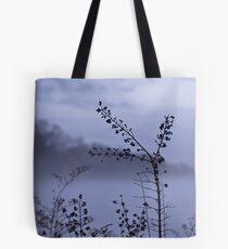 Foggy Winter Botanicals in Landscape Tote Bag