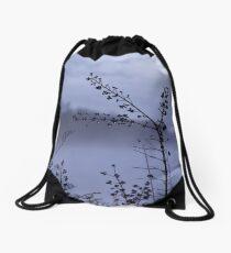 Foggy Winter Botanicals in Landscape Drawstring Bag