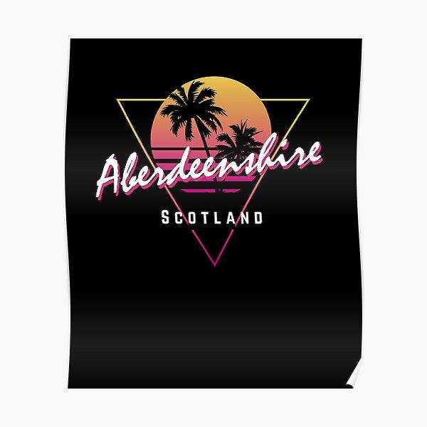 Funny 80s Retro Sunset 'Aberdeenshire' Scotland Poster
