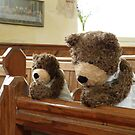 Teddy Bears praying in church by Dean Harkness