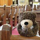 Teddy Bear praying in church by Dean Harkness
