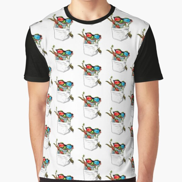 Pocket Tree Frog Hanging Out Graphic T-Shirt