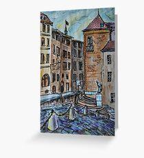 Watercolor Sketch - Genève, Old Town, Cour de Saint Pierre Greeting Card