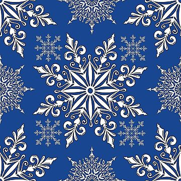 Holiday Snowflake Continuous Pattern #1 on Blue Background by LaRoach