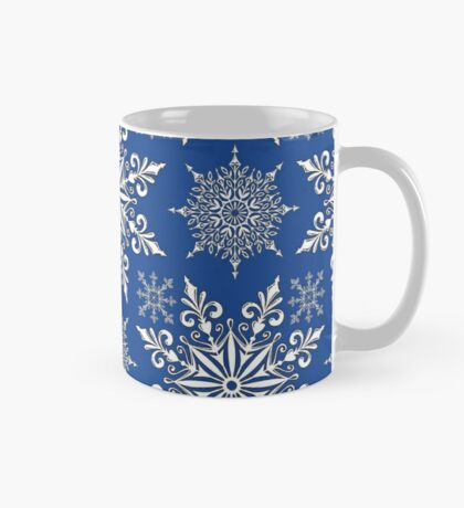 Holiday Snowflake Continuous Pattern #1 on Blue Background Mug