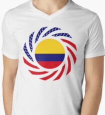 Colombian American Multinational Patriot Flag Series V-Neck T-Shirt