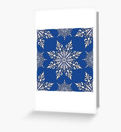 Holiday Snowflake Continuous Pattern #2 on Blue Background Greeting Card