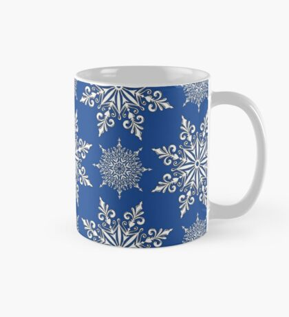 Holiday Snowflake Continuous Pattern #2 on Blue Background Mug