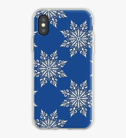 Holiday Snowflake Continuous Pattern #3 on Blue Background iPhone Case