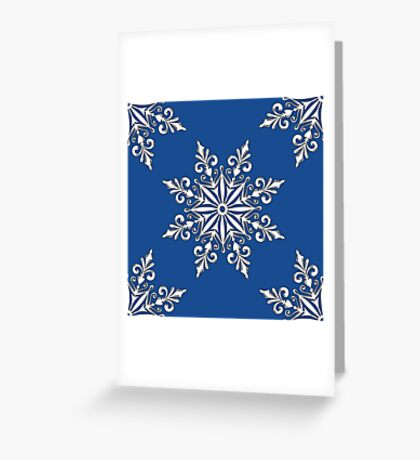 Holiday Snowflake Continuous Pattern #3 on Blue Background Greeting Card