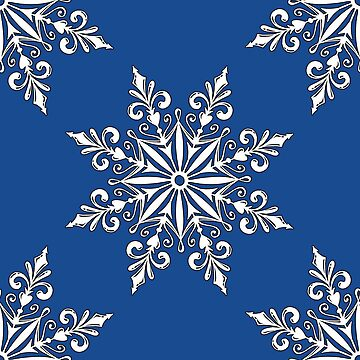 Holiday Snowflake Continuous Pattern #3 on Blue Background by LaRoach