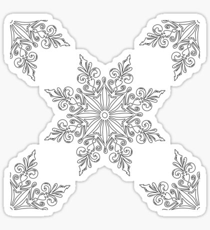 Holiday Snowflake Continuous Pattern #3 on Blue Background Sticker