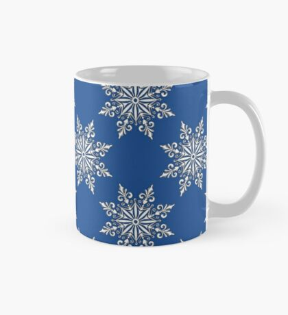Holiday Snowflake Continuous Pattern #3 on Blue Background Mug
