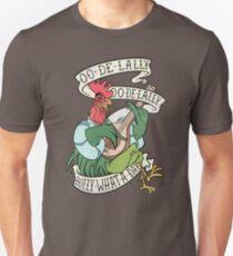 Camiseta unisex Angustiado Alan A Dale Rooster Bard - Golly ¡Qué día! Diseño de banner de tatuaje