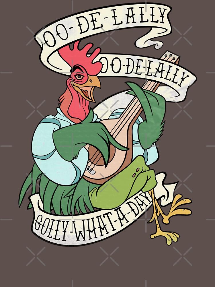 Angustiado Alan A Dale Rooster Bard - Golly ¡Qué día! Diseño de banner de tatuaje de Rvaya