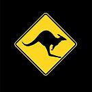 Caution Kangaroo - Black T Shirt by Rupert Russell
