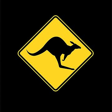 Caution Kangaroo - Black T Shirt by rupertrussell