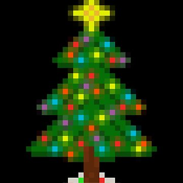 Pixel Christmas Tree with Glowing Lights (Black) by gkillerb