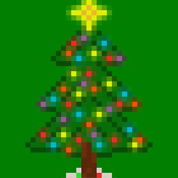 Pixel Christmas Tree with Glowing Lights (Green) by gkillerb