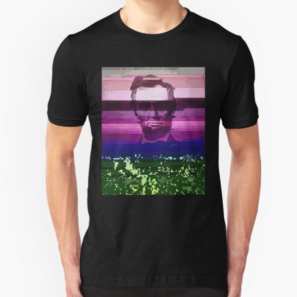 Abraham Lincoln Glitch Art Digital Glitched Slim Fit T-Shirt