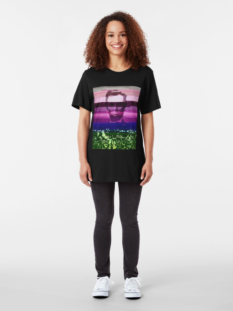 Alternate view of Abraham Lincoln Glitch Art Digital Glitched Slim Fit T-Shirt