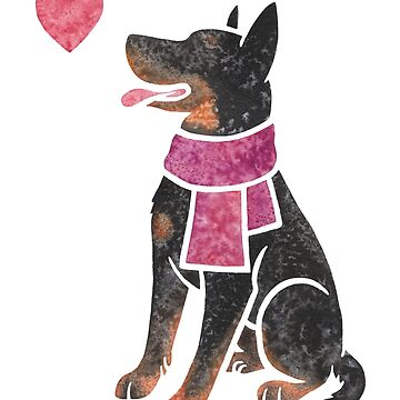 Watercolour Beauceron dog by animalartbyjess