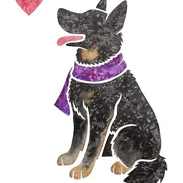 Watercolour German Shepherd Dog (bicolour) by animalartbyjess