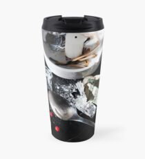 Drug abuse concept, Heroin shoot up tools and drugs and money Travel Mug