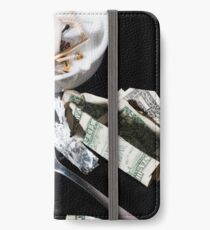 Drug abuse concept, Heroin shoot up tools and drugs and money iPhone Wallet/Case/Skin