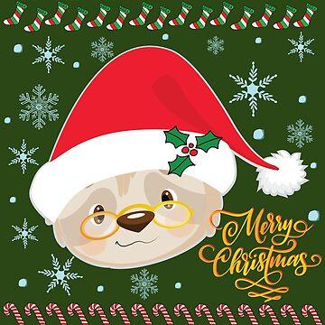 Cute Ugly Christmas Shirt Merry Christmas Santa Sloth Tee by tronictees