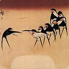 Dancing Swallows by Hiroshige (Reproduction) by Roz Abellera