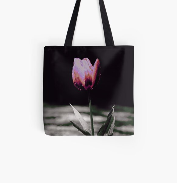 Raindrops on Tulip in Pink All Over Print Tote Bag