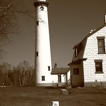 Lighthouse - Presque Isle, Michigan in Sepia by Ffooter