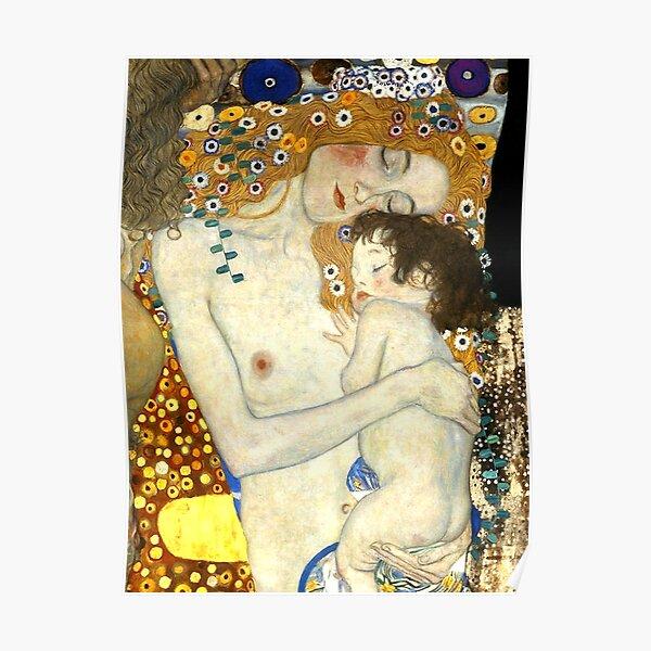 """La mére et l'enfant , détail du tableau """"Les Trois Âges de la femme"""" Gustav Klimt Poster"""