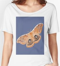 Emperor Gum Moth (Opodiphthera eucalypti) Tiled on Blue Women's Relaxed Fit T-Shirt