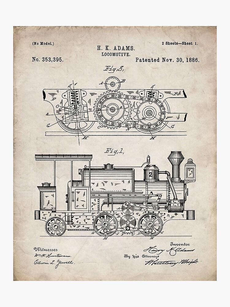 steam train patent - steam locomotive art - antique photographic print