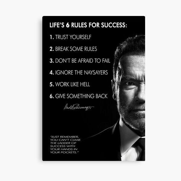 Arnold Schwarzenegger's 6 rules for success Canvas Print