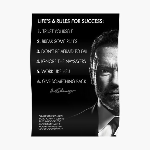 Arnold Schwarzenegger's 6 rules for success Poster