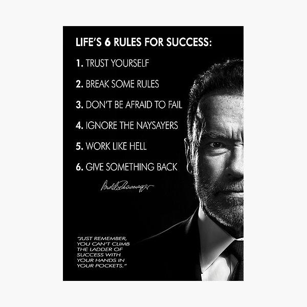 Les 6 règles du succès d'Arnold Schwarzenegger Impression photo