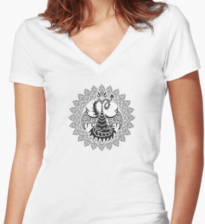 Zen Tattoo Dragon Meditating in Celtic Mandala Women's Fitted V-Neck T-Shirt