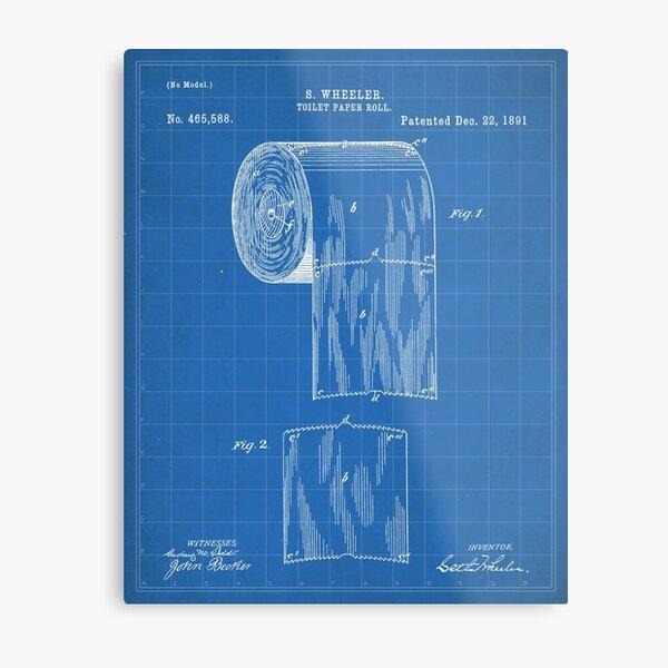 Toilet Paper Patent - Bathroom Art - Blueprint Metal Print