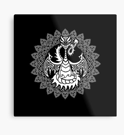 Zen Tattoo Dragon Meditating in Celtic Mandala Metal Print