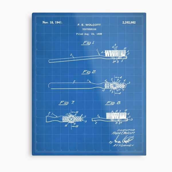 Toothbrush Patent - Bathroom Art - Blueprint Metal Print